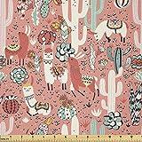 Lunarable Kaktus-Stoff von The Yard, Cartoon Illustration