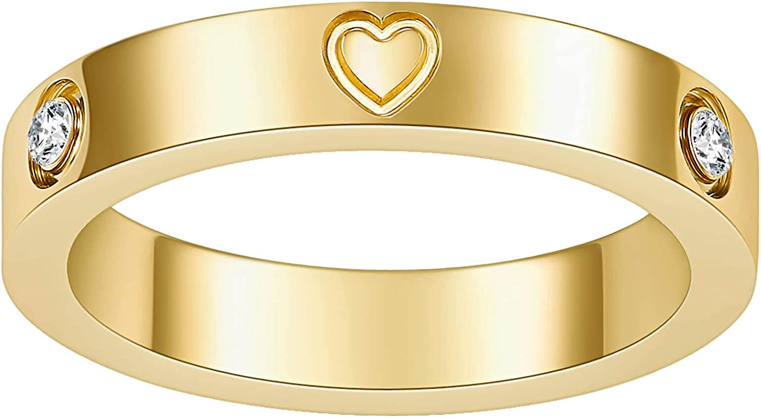 Nireus Love Friendship Cute Heart Rings for Women Teen Girls, 18k Gold Plated Cubic Zirconia Stainless Steel Band Ring, Size 5-11