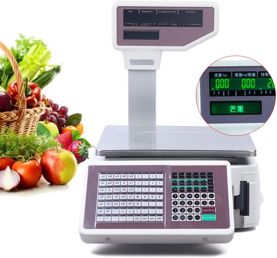 Price Computing Scale with Thermal Label Printer Up to 66lb Weighing Range Pole Display Scale for Supermarket (with Mobile APP)