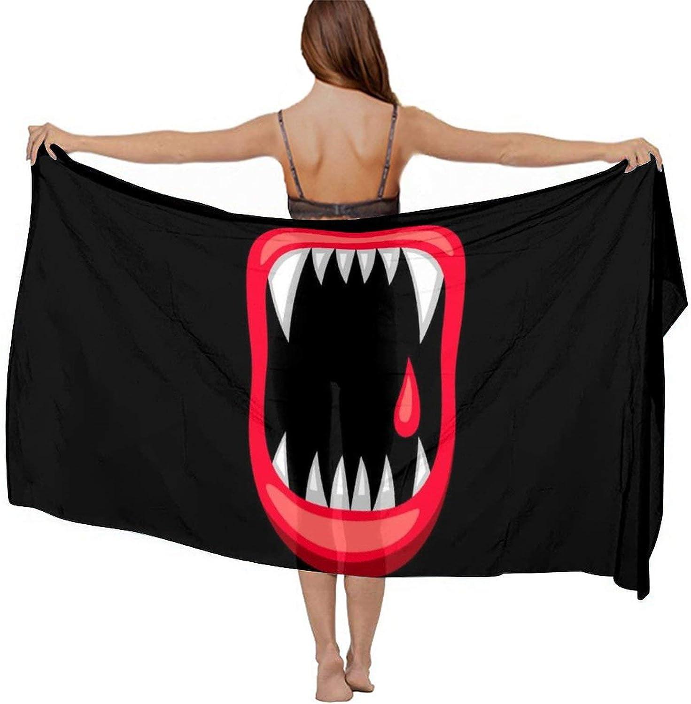 SWEET TANG Women Short Sarongs Bikini Wraps Chiffon Cover Ups Beach Soft Wraps for Cruises, Pool, Lake, Vampire Blood Lip Mouth