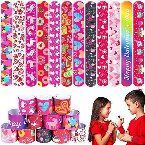 Tacobear 48 Piezas San Valentín Slap Pulsera Pulseras de Bofetada Slap Bracelet con Patrones De Unicornio De Corazon Pulseras Juguetes Artículos de Fiesta San Valentín Regalo para Adulto Niños