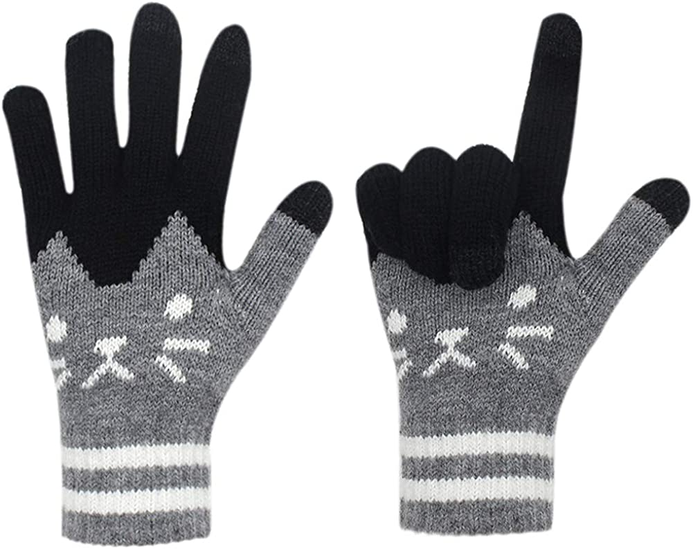 Women Girls Touch Screen Winter Gloves Soft Warm Knit Mittens Windproof Texting Gloves