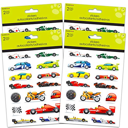 Race Car Stickers Party Favors Pack -- 4 Racecar Sticker Packs for Kids Adults (Racing Party Supplies, Decorations)