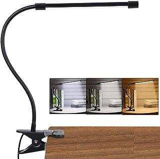 LED-skrivbordslampa med klämma, läslampa studielampa ögonvård skydd med 10 dimbar ljusstyrka och 3 ljuslägen, USB-driven f...