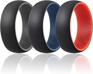 ROQ Silicone Wedding Ring for Men -3 Packs/4 Packs & Singles - Duo Collection Silicone Rubber Wedding Bands - Classic Styles