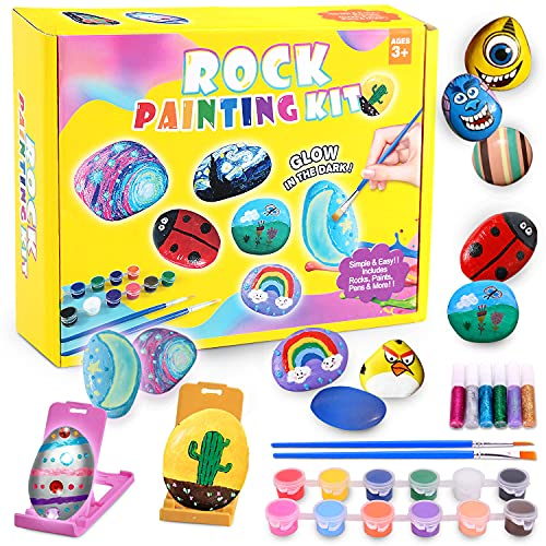 Unirolic Rock Painting Kit Art Crafts for Kids Paint Rocks for Boys and Girls Aged 3 and Up