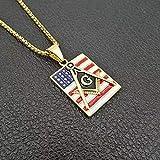 BAIYAN Hiphop Collar, Hip Hop Gold Silver Color Tone Masonic Colgantes Bandera Americana 316L Acero Inoxidable para Hombre Collares Club Joyería