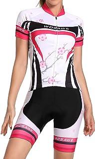 WOSAWE 2016 Women Short Sleeve Cycling Jersey 4D Gel Padded Shorts MTB Sportswear
