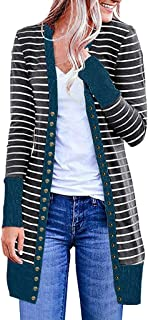 Fankle Sale Women's Long Sleeve Snap Button Down Striped Knit Ribbed Neckline Cardigans Sweater Coat