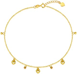 "SISGEM 18K Real Gold Anklets for Women, Dainty Gold Hearts Ankle Bracelet Jewelry for Her, 8.5""-9.5"""
