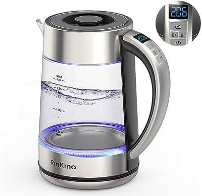 Hervidor eléctrico RinKmo (libre de BPA) de vidrio hirviendo rápido (1,8 L) hervidor de té de cocina para té y café con apagado automático LED azul