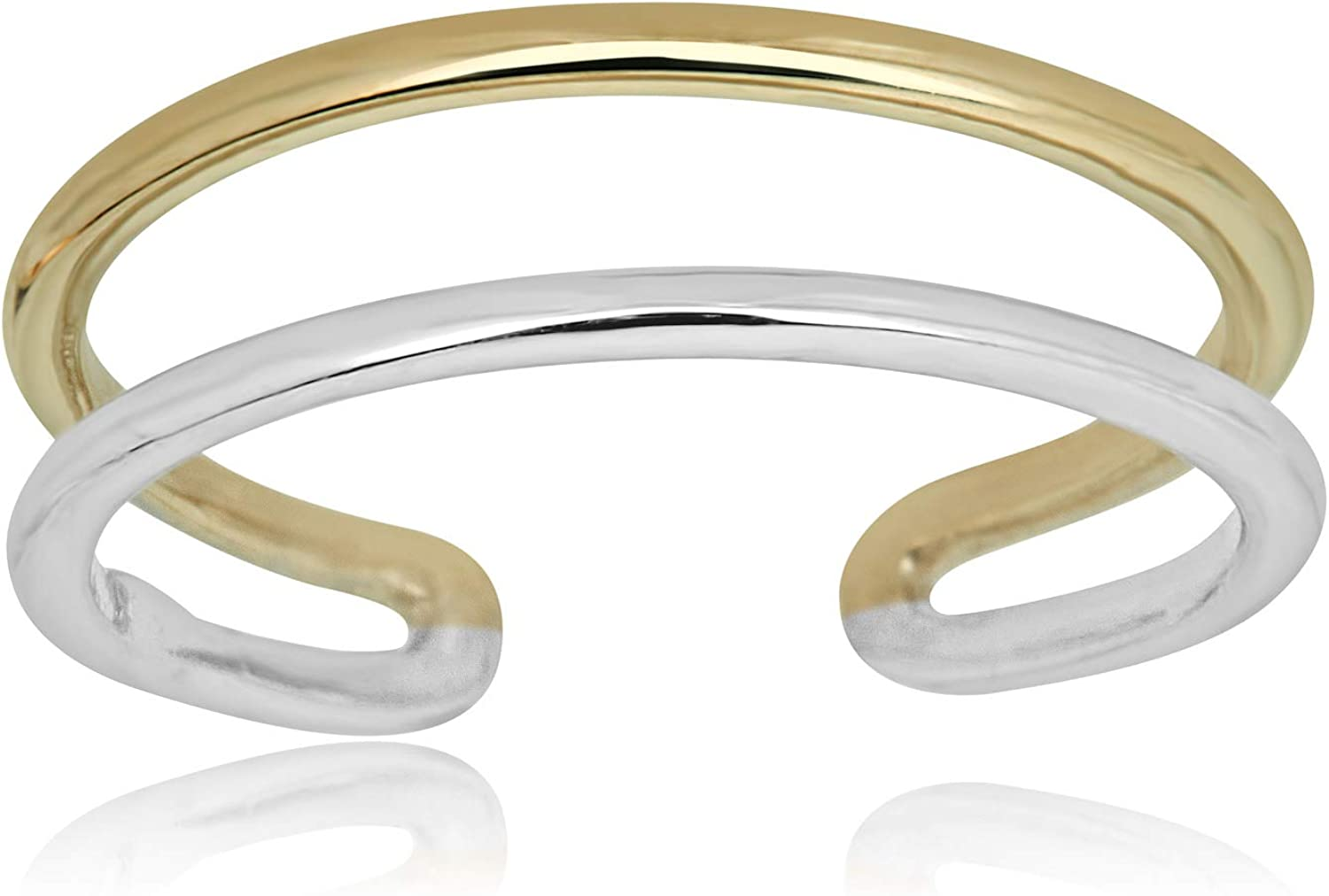 AVORA 10K Gold Two-Tone Two Row Ring Fort Worth Mall Toe Minimalist In stock Adjustable