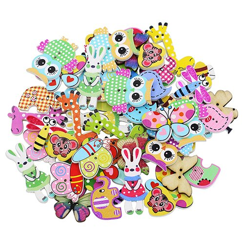shyymaoyi - Botones de Madera con diseño de Mariposa, búho, Jirafa, Conejo, pájaro, Abeja, Forma de Rana, 2 Agujeros, 50 Unidades, Madera