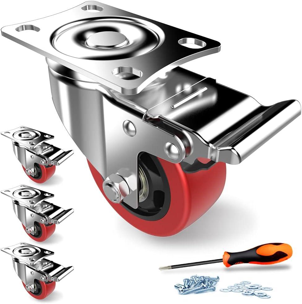 Lenkrollen für Möbel, 75 mm Bremse, robuste Lenkrollen mit Sicherheitsverriegelung, geräuschlose Schwenkräder mit Polyurethan-Gummi-Beschichtung,...