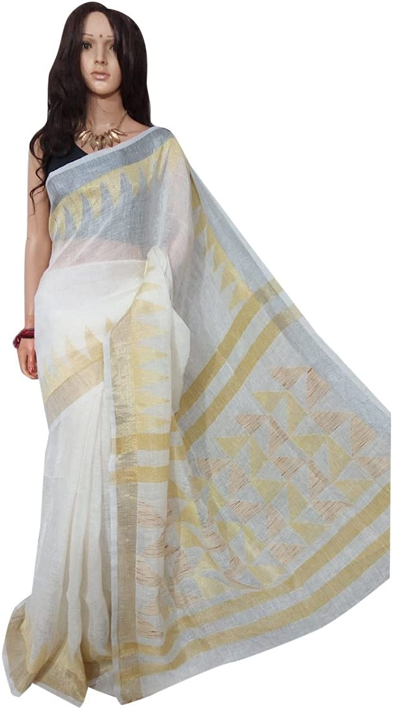 ETHNIC EMPORIUM Ethnic Traditional Handloom Linen Saree Formal Wear Designer Zari Border Blouse Sari 120