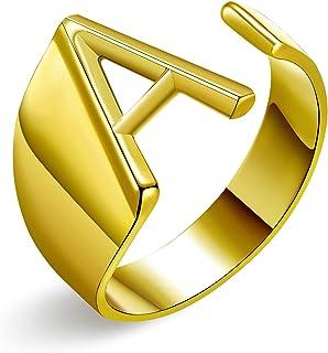 خاتم ذهبي عريض مفتوح بالحرف الأولي للنساء خاتم مكتنزة قابل للتعديل خواتم الأبجدية الجريئة للنساء خاتم التوقيع، حرف A