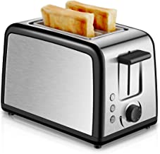 Toaster 2 Slice Compact Brushed Stainless Steel Toasters with Warmer Rack, Warm Touch 2-Slice Toaster with Warming Rack, Defrost Reheat Cancel Button, One Touch Quickly Toasts and Removable Crumb Tray (Silver)
