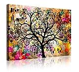 DekoArte 350 - Cuadros Modernos Impresión de Imagen Artística Digitalizada | Lienzo Decorativo Para Tu Salón o Dormitorio | Estilo Abstracto Arte Árbol de la Vida de Gustav Klimt | 1 Pieza 120 x 80 cm