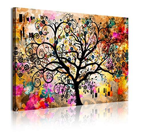 DekoArte - Cuadros Modernos Impresión de Imagen Artística Digitalizada | Lienzo Decorativo Para Tu Salón o Dormitorio | Estilo Abstracto Arte Árbol de la Vida de Gustav Klimt | 1 Pieza 120 x 80 cm