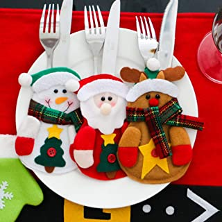 Littay 3pcs Christmas Xmas Decor Santa Snowman Kitchen Tableware Holder Pocket Dinner Cutlery Bag