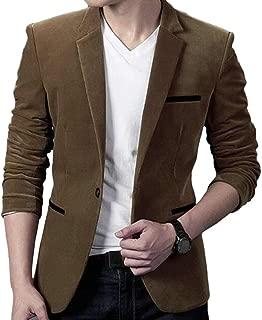Men One Button Warm Corduroy Notched Lapel Sport Coat Blazer Jacket