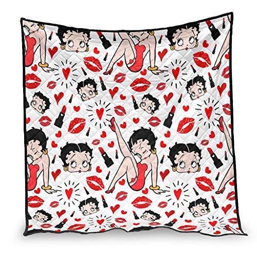 YshChemiy Betty Boop - Colcha de algodón para cama (230 x 260 cm), color blanco