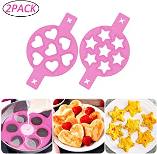 YISMEET Large Pancake Mold Maker 2 Pack, 14 Cavity Nonstick Silicone Baking Round Mold Egg Rings Muffin Pancake Mould, Heart and Star Pancakes Molds for Fried eggs, poached eggs(Pink)