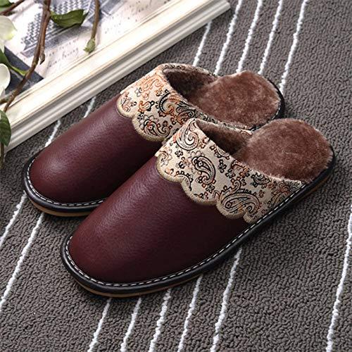 N-B Zapatillas de Invierno para Mujer, Zapatillas de Cuero Genuino para el hogar, Zapatos térmicos Antideslizantes para Interiores, Zapatillas de Piel cálidas para Hombre