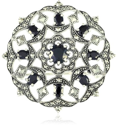 Esse Marcasite Sterling Silver Black Spinel Fancy Flower and Garlands Round Marcasite Brooch 3.5cm