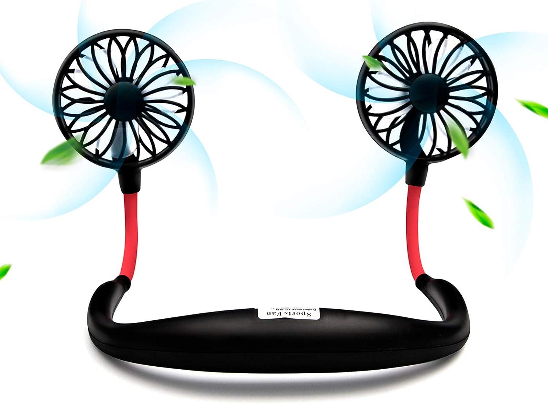 USB Neckband Fan Rechargeable Hand Free Personal Fan with Dual Wind Head Fan Wearable Fan for Camping Traveling