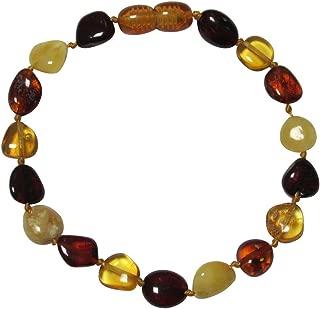 Baltic Amber Adult Knotted Bracelet Unisex ABB143 Polished Multicolour 19cm Flat Beads