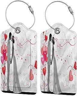 Travel Luggage Baggage Handbag Tag, Business Card Holder Set of 2PCS, Wedding Heart Shaped Balloons Bride