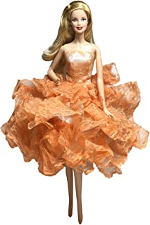 Peregrine Orange Ball Gown Strapless Layers of Organza Orange Dress for 11.5 inches Dolls