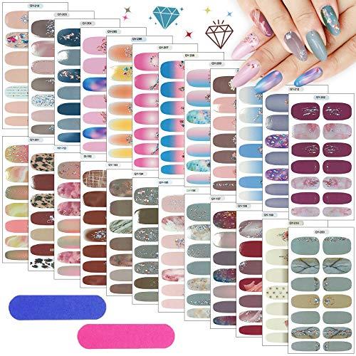 Kalolary 24 Blatt Nagelfolie Nagelsticker mit 2 Stück Nagelfeilen, Glitter Diamond Nail Art Aufkleber Selbstklebend Nagelfolie Nagelkunst Sticker DIY Nail Art für Frauen Mädchen Nail Art Designs
