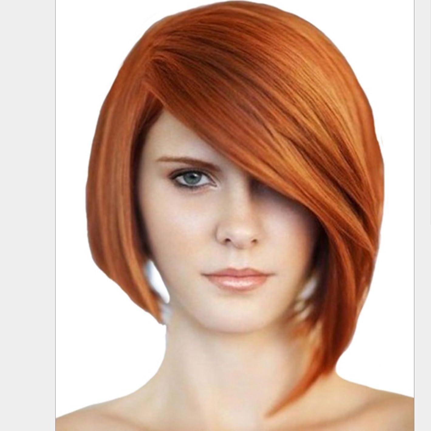 人種友情側HOHYLLYA 女性のための化学繊維ゴールドかつら斜めの髪飾り付きストレートヘアヘアヘッド白人女性のための抵抗性のかつら8インチのかつら (色 : ゴールド)