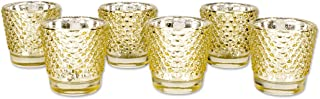 Koyal Wholesale Hobnail Glass Candle Holder, 2.5 x 2.4-Inch, Set of 6 Gold