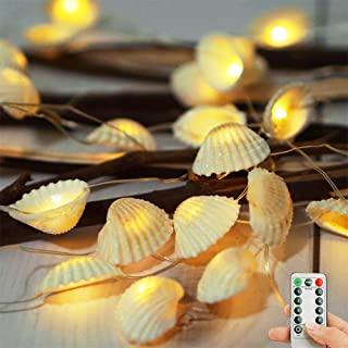 LoveNite Natural Seashell String Lights, Battery Operated 8 Modes 40 LED Waterproof Beach Decorative Ocean Lights with Rem...