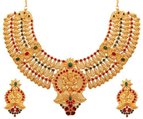Touchstone Conjunto de Collar de Novia Indio Bollywood Paisley meenakari polki Look Templo joyería para Mujer Multicolor