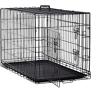 BestPet Large Dog Crate Dog Cage Dog Kennel Metal Wire Double-Door Folding Pet Animal Pet Cage with Plastic Tray and Handle (48″)