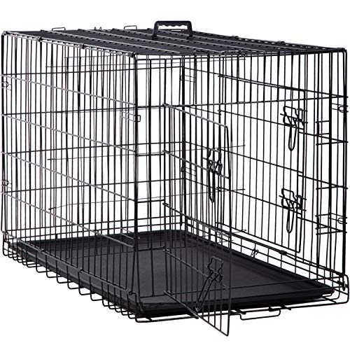 BestPet 48 inch Large Dog Crate Dog Cage Dog Kennel Metal Wire Double-Door Folding Pet Animal Pet Cage with Plastic Tray and Handle