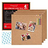 Magicfly Premium Square Cork Tiles 12 x 12 Inch, 1/2 Inch Thick, Pack of 4,Self-Adhesive Natural Cork Boards with 40 Push Pins, Mini Wall Bulletin Board for Notes, Pictures, DIY Drafts