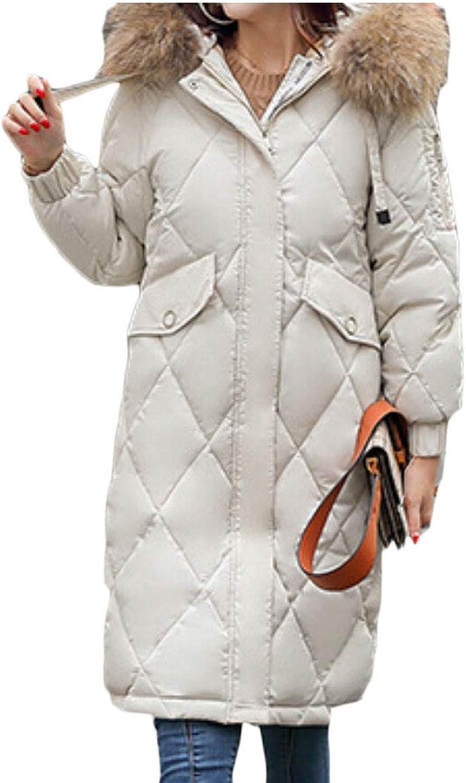Women Winter Down Jackets Long Down Coat with Faux Fur Hood