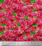 Soimoi Baumwolle Cambric Stoff Nähgut-Rosa-Erdbeere Druck