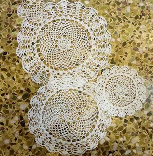 JIAYAN Algodón Hecho a Mano Redondo Mantel Taza Posavasos Cocina Cocina Mesa de Navidad Mantel Mantel Encaje Crochet té café tapete, Blanco, Redondo 30cm
