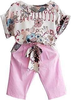 Gyratedream Conjunto de Ropa para niñas, Verano bebé niña Moda Floral Estampado Manga Corta Playera Tops Casual Pantalones...