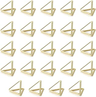 AIEVE Place Card Holders, 24 Pack Table Card Holders Triangle Shape Table Number Holders Photo Holder Pictures Stand Clips for Place Cards Weddings Anniversary Party Office Desk Name, Gold