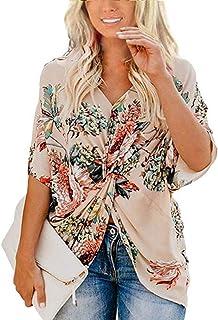 FlusRap Floral Shirt,Summer V-Neck Shirt,Summer Short Sleeve, Women Floral Print Twist Knot V-Neck Blouses Shirts Tops for Summer.