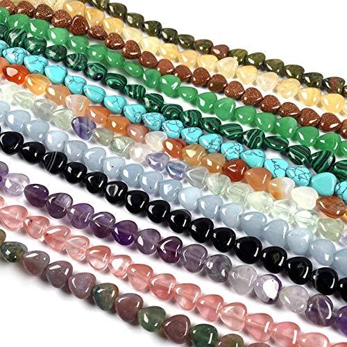 FISH4 40 Piezas de Piedras semipreciosas en Forma de corazón, Cuentas Naturales, fabricación de Abalorios para joyería, Pulsera, Collar, Accesorios, tamaño 10X10Mm-Multi, 2Mm