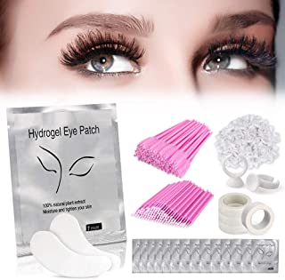 TopDirect Eyelash Extension Supplies 4x100 Packs - 100 Pairs Under Eye Gel Pads | 100 Disposable Mascara Brushes Wands | 100 Micro Applicators Cotton Wands | 100 Glue Ring Holder | 4 Medical Tapes