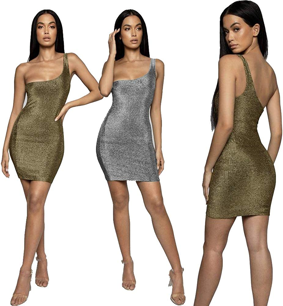 Women's One Shoulder Side Bodycon Party Evening Party Cocktail Club Mini Tank Nightclub Dresses